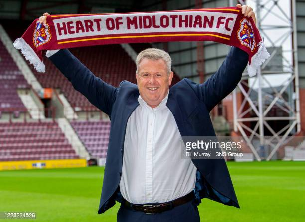 New Hearts CEO Andrew McKinlay is pictured during a press conference at Tynecastle Park on August 27 in Edinburgh, Scotland.