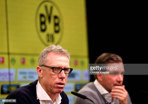 New hed coach Peter Stoeger and manager Michael Zorc of Dortmund during the press conference at Signal Iduna Park on December 10 2017 in Dortmund...