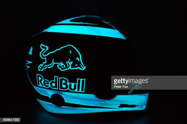 New helmet design for Jean-Eric Vergne of Toro Rosso and France ahead of the Singapore F1 Grand Prix at Marina Bay Street Circuit on September 18,...