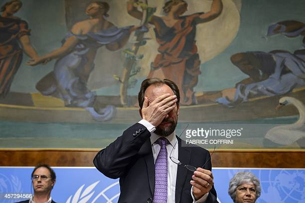 New High Commissioner of the United Nations for Human Rights Zeid Ra'ad alHussein of Jordan gestures after a press conference on October 16 2014 in...