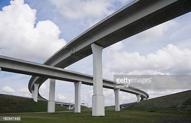 new highway construction overpass - flyover stock pictures, royalty-free photos & images