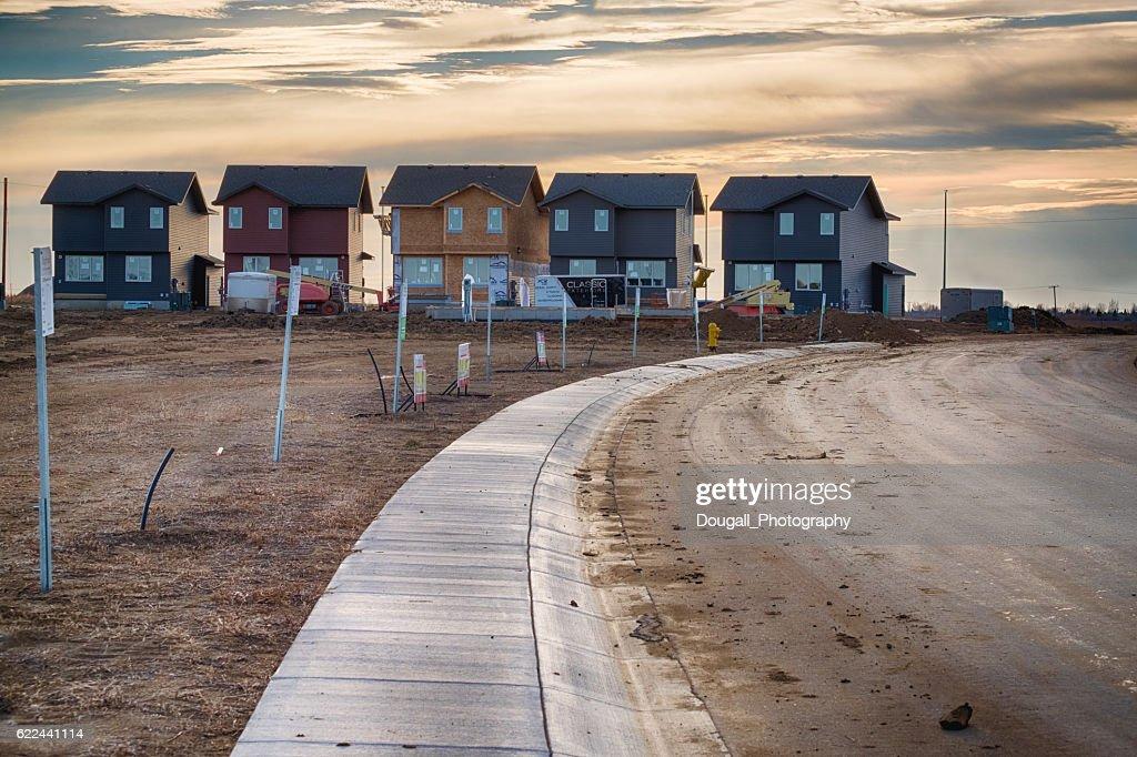 New Home Construction in Saskatoon Brighton Neighbourhood : Stock Photo