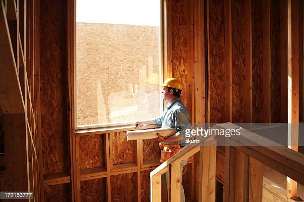 New home construction worker
