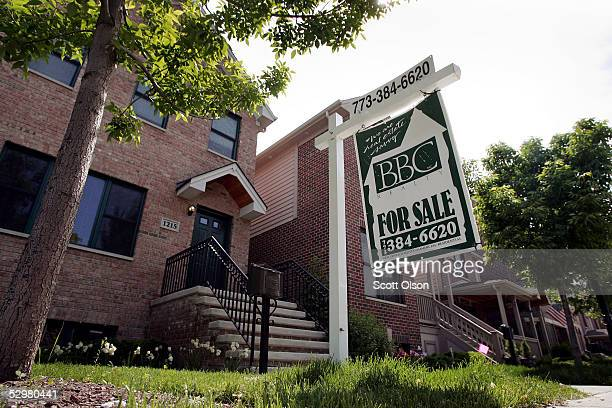 A new home is offered for sale in the Bridgeport neighborhood May 25 2005 in Chicago Illinois Home prices posted the biggest annual gain in almost 25...