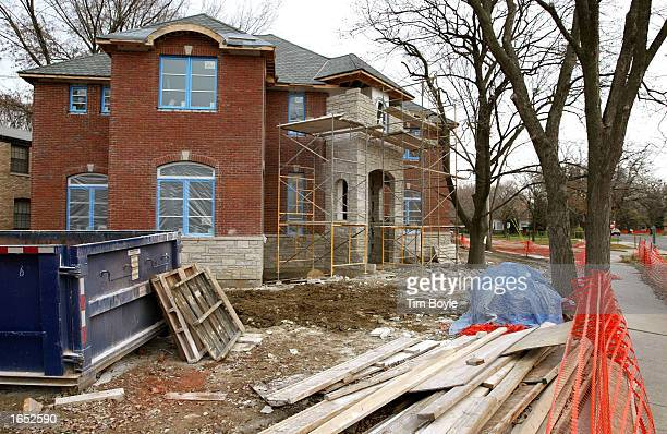 New home is under construction November 20, 2002 in Park Ridge, Illinois. In a report released today, the government states that new home...