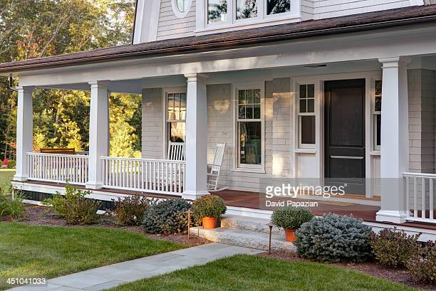 new home porch exterior with front door - ポーチ ストックフォトと画像
