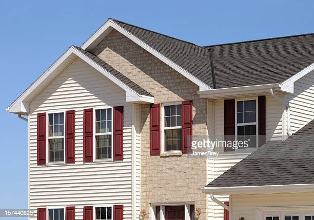 new home with vinyl siding and brick - shutter stock pictures, royalty-free photos & images