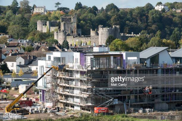 New homes are pictured being constructed below Chepstow castle near the the M48 Severn Bridge on October 9 2018 in Chepstow Wales Last week at the...