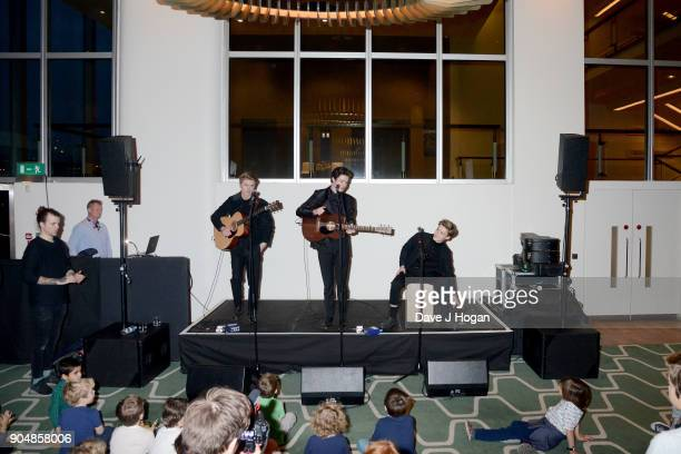 New Hope Club perform at the 'Early Man' World Premiere after party held at Skylon on January 14 2018 in London England