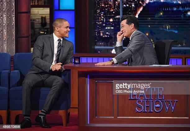 New Host of 'The Daily Show' Trevor Noah on The Late Show with Stephen Colbert Thursday Sept 17 2015 on the CBS Television Network