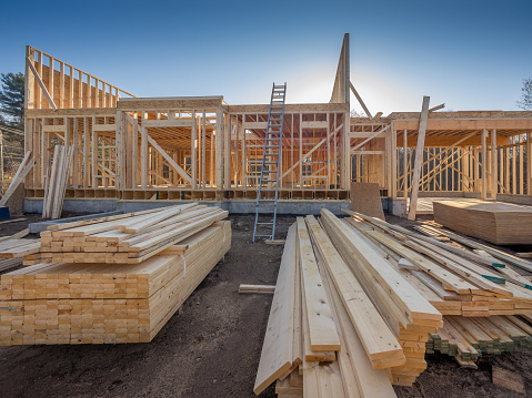 New house construction framing 883091686