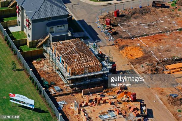 New house under construction, Holsworthy, Western Sydney, Aerial Photography
