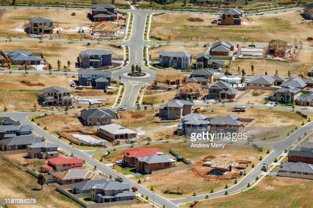 new housing development, building new houses in suburb, sydney, australia, aerial photography - housing difficulties stock pictures, royalty-free photos & images