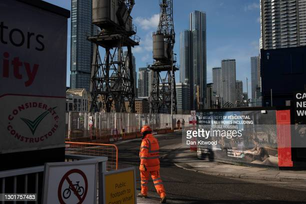 New housing development near the Canary Wharf business district on the Isle of Dogs on February 12, 2021 in London, England. The ONS figures released...