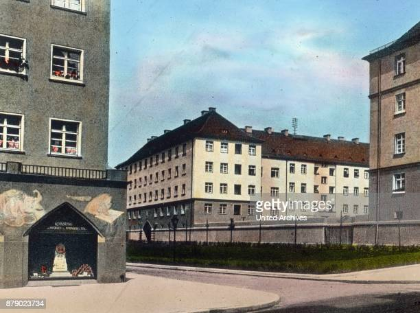 New housing estate with small apartments and consuption sale shops in Nuremberg Franconia Bavaria