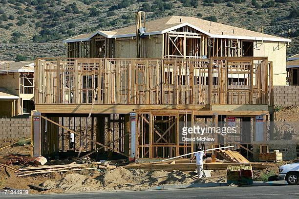 New housing is constructed near the San Andreas Fault as suburban sprawl continues on June 29 2006 near Palmdale California Scientists are warning...