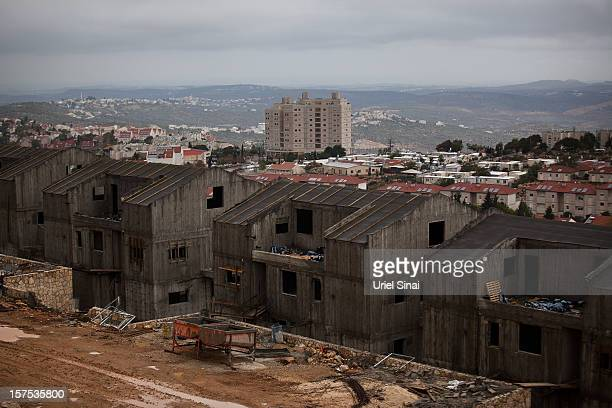 New housing under construction on December 4 2012 in the West Bank Jewish settlement of Ariel Israel plans to build 3000 new settler homes in East...