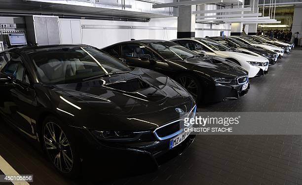New i8 plugin hybrid sports cars developped by German car manufacturer BMW are parked in the BMW world delivery center in Munich southern Germany on...