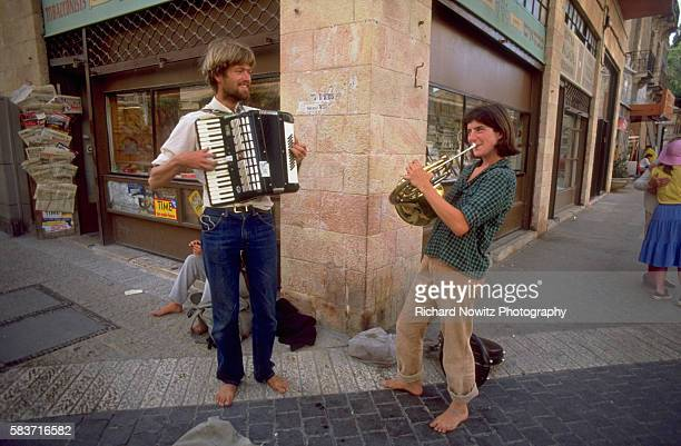 New immigrants from Russia play street music in Jerusalem Israel