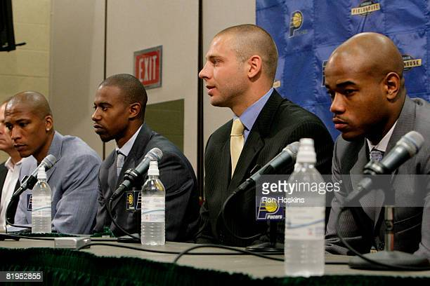 New Indiana Pacers acquired in trades on draft night Maceo Baston TJ Ford Josh McRoberts and Jarrett Jack are introduced to the media at Conseco...