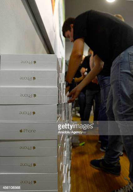 New iPhone 6 boxes are seen in reStore at Europeisky Shopping Mall in Moscow as iPhone 6 and iPhone 6 Plus retail sales begin in Russia on September...