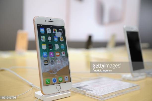 New iPhone 8 plus models are displayed plus model at a telecom shop in Omotesando Avenue in Tokyo Japan on September 22 2017 Apple sales its new...