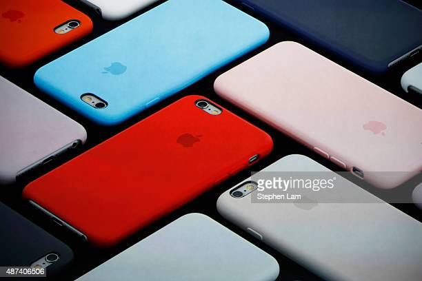 New iPhone covers are displayed on screen during a Special Event at Bill Graham Civic Auditorium September 9 2015 in San Francisco California Apple...