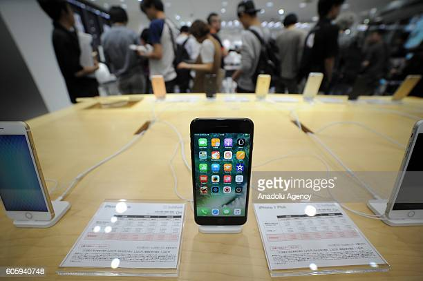 New iPhone models are seen on display at a telecom shop in Omotesando Avenue in Tokyo Japan on September 16 2016 Apple has released for sale its new...