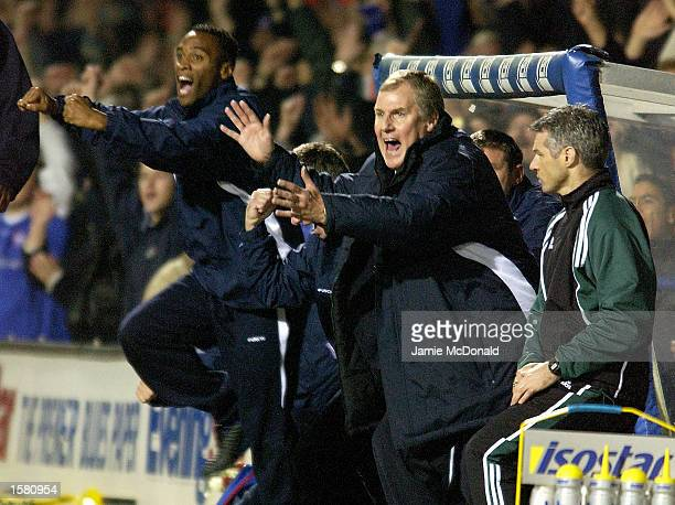 New Ipswich Town Manager Joe Royle celebrates the first goal for the club under his management during the UEFA Cup, second round first leg, match...