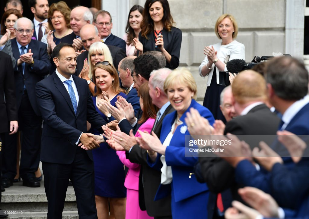 New Irish Taoiseach Leo Varadkar is congratulated by TD's and well wishers on the steps of Leinster House after being elected as Taoiseach on June 14, 2017 in Dublin, Ireland. A vote in the Dail today confirmed Mr Varadkar as Ireland's youngest Taoiseach at the age of 38 and also it's first gay leader. Mr Varadkar replaces Enda Kenny as both Fine Gael leader and outgoing Taoiseach after Mr Kenny stepped down yesterday.