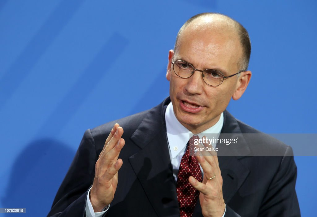 New Italian Prime Minister Enrico Letta speaks to the media with German Chancellor Angela Merkel (not pictured) following talks at the Chancellery on April 30, 2013 in Berlin, Germany. Letta is in Germany on his first official foreign visit abroad since taking office. The two leaders discussed the current financial situation in Europe.