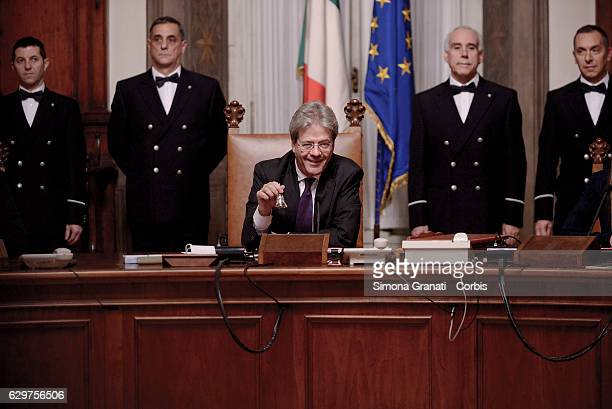New Italian prime minister Paolo Gentiloni opens and chairs the first Council of Ministers following a the ceremony of succession on December 12 2016...