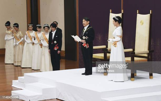 New Japanese Emperor Naruhito delivers his first speech after his ascension to the throne on May 1 speaking before the heads of the government...
