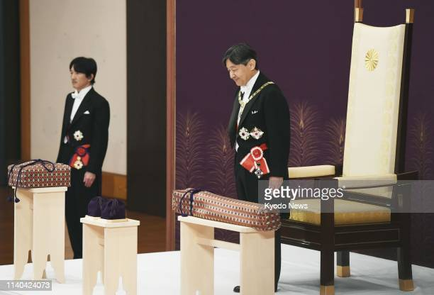 New Japanese Emperor Naruhito inherits the imperial regalia of sword and jewel at the Imperial Palace in Tokyo on May 1 2019 ==Kyodo