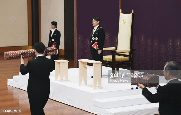 New Japanese Emperor Naruhito prepares to inherit the imperial regalia of sword and jewel at the Imperial Palace in Tokyo on May 1 2019 ==Kyodo
