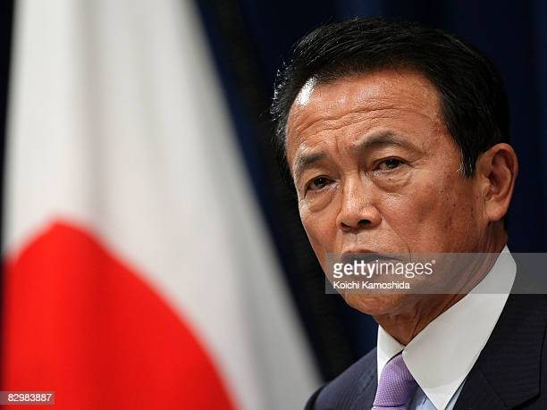 New Japanese Prime Minister Taro Aso announces his new cabinet during a press conference at the Prime Minister's official residence on September 24...