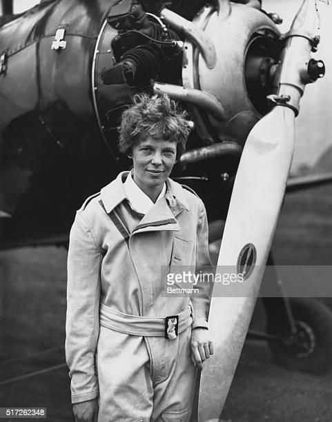 Aviatrix Leaves On Ocean Hop Mrs Amelia Earhart Putnam prominent aviatrix who crossed the Atlantic Ocean by plane left Teterboro Airport Hasbrouck...