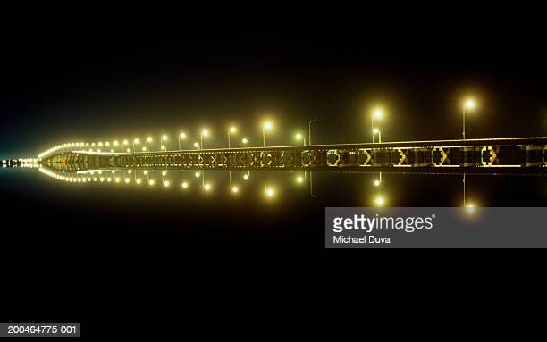 USA, New Jersey, bridge from Toms River to Seaside Heights at night