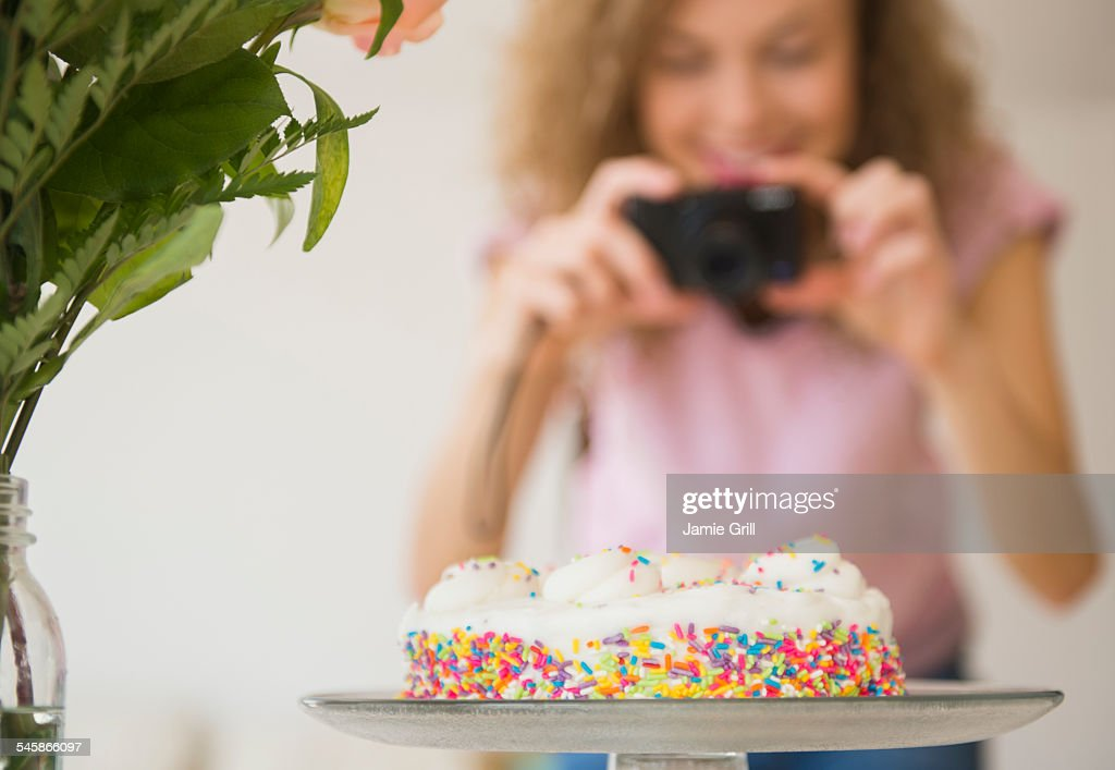 USA New Jersey Close Up Of Birthday Cake Woman With Camera In Background