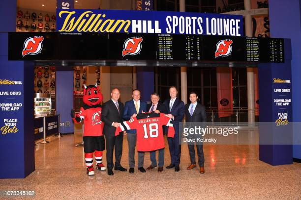 New Jersey Devils Alumnus and MSG Broadcaster Ken Daneyko, William Hill CEO Joe Asher, New Jersey Devils Alumnus and New Jersey Devils Hockey Network...