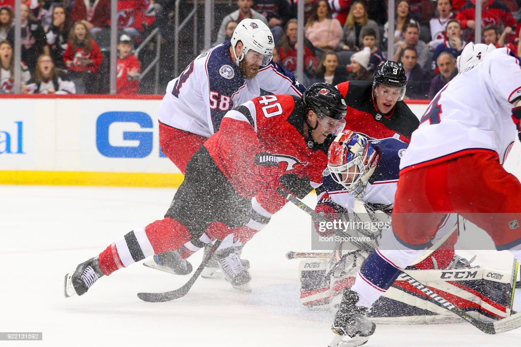 New Jersey Devils center Blake Coleman (40) skates into Columbus Blue Jackets goaltender Sergei Bobrovsky (72) during the third period of the National Hockey League game between the New Jersey Devils and the Columbus Blue Jackets on February 20, 2018, at the Prudential Center in Newark, NJ.