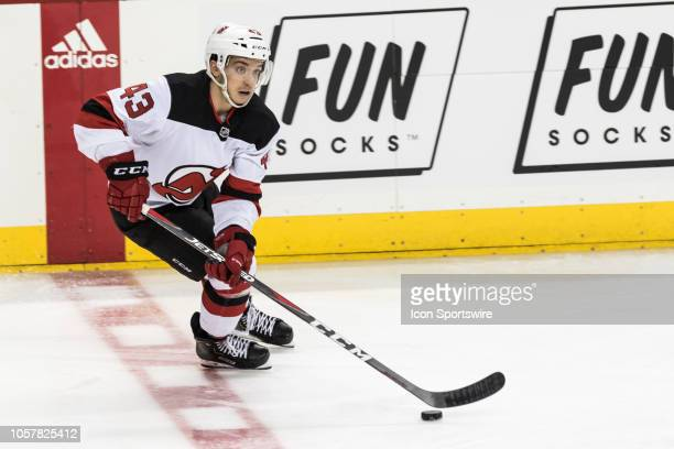 New Jersey Devils Center Brett Seney in action during the second period of a regular season NHL game between the New Jersey Devils and the New York...