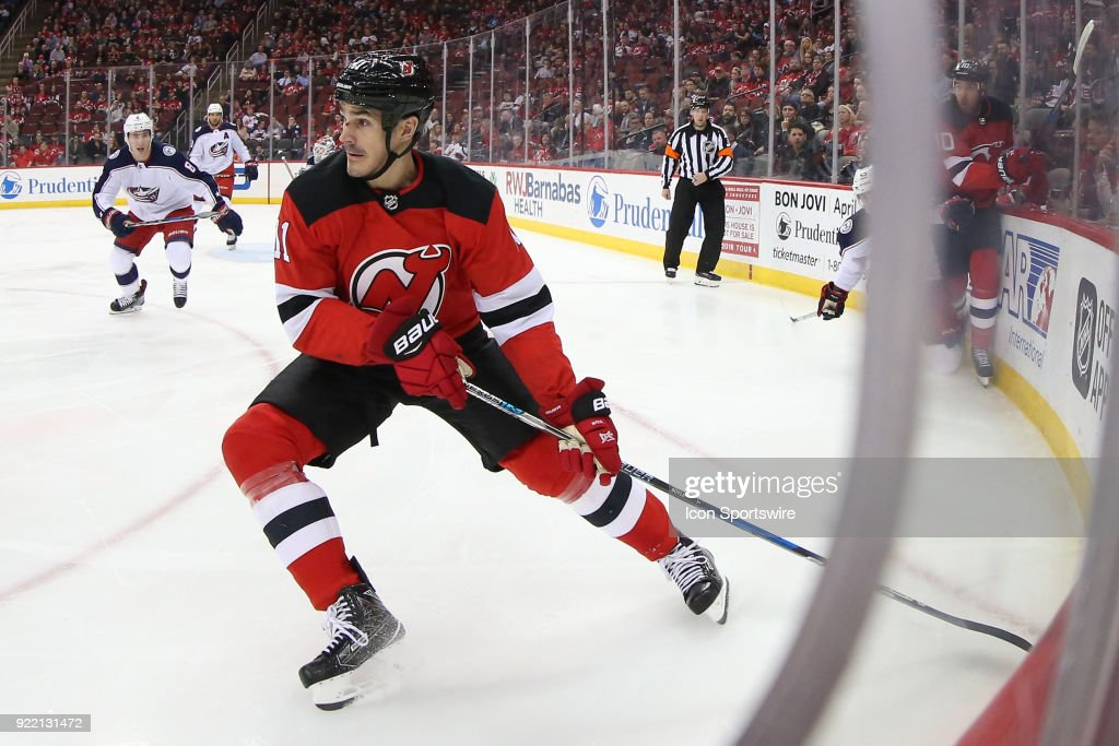 New Jersey Devils center Brian Boyle (11) skates during the second period of the National Hockey League game between the New Jersey Devils and the Columbus Blue Jackets on February 20, 2018, at the Prudential Center in Newark, NJ.