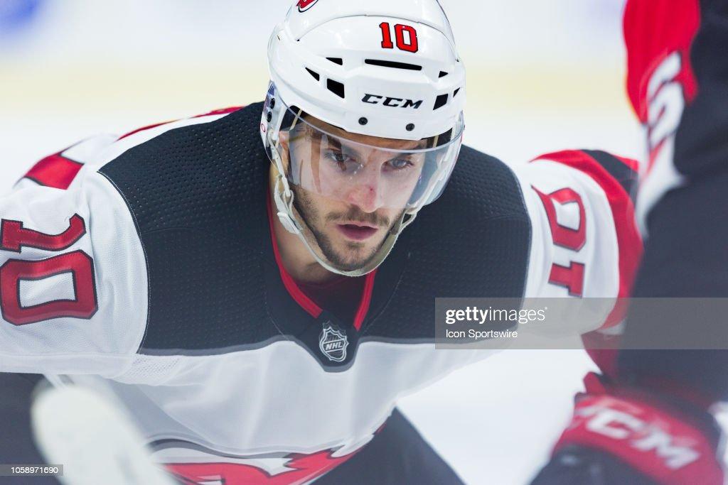 finest selection 714d6 42e14 New Jersey Devils Center Jean-Sebastien Dea prepares for a ...