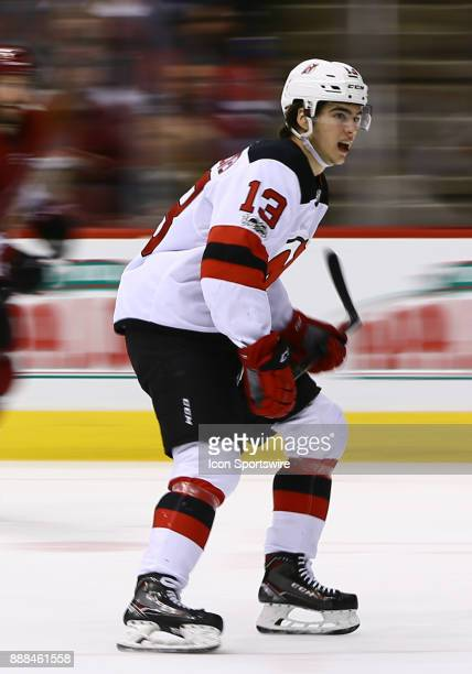 New Jersey Devils center Nico Hischier skates forward during the NHL hockey game between the New Jersey Devils and the Arizona Coyotes on December 2...