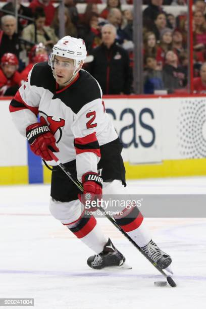 New Jersey Devils Defenceman John Moore during the 2nd period of the Carolina Hurricanes game versus the New Jersey Devils on February 18 at PNC Arena