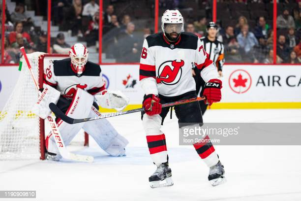 New Jersey Devils Defenceman P.K. Subban defends the net during second period National Hockey League action between the New Jersey Devils and Ottawa...