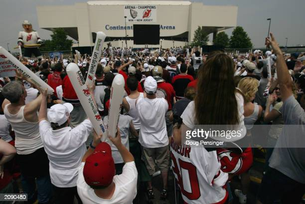 New Jersey Devils fans packed the parking lot in hopes of catching a glimpse of the Stanley Cup as the Devils celebrate their Stanley Cup...