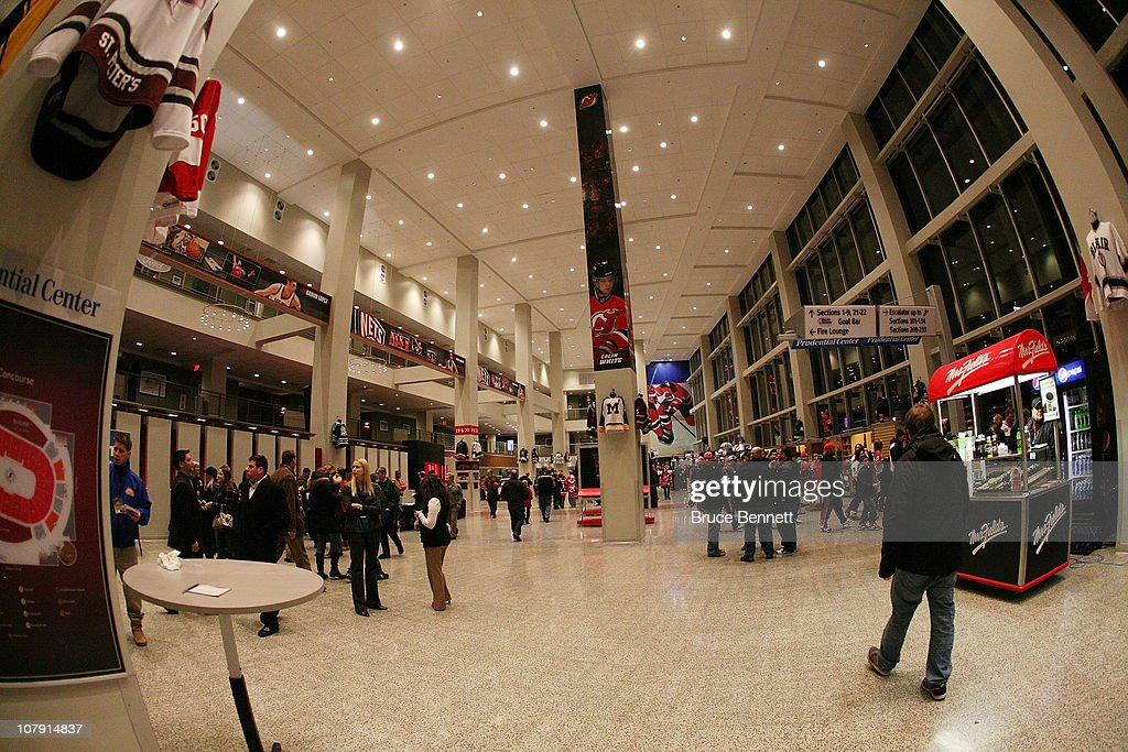 New Jersey Devils fans walk the concourse prior to the game between the Devils and the Philadelphia Flyers at the Prudential Center on January 6, 2011 in Newark, New Jersey.