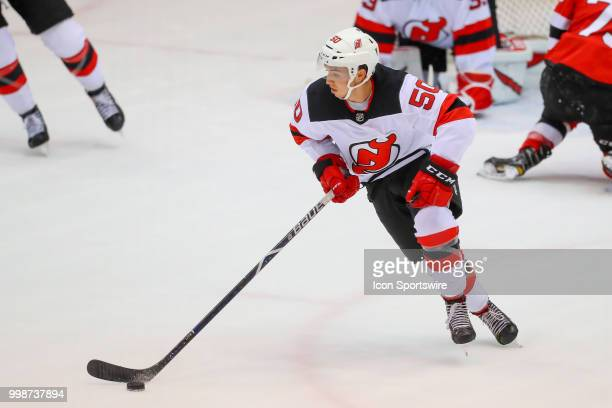 New Jersey Devils forward Brett Seney skates during the New Jersey Devils Development Camp scrimmage on July 14 2018 at the Prudential Center in...